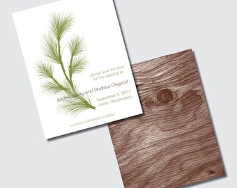 Winter Wedding Save the Date with Evergeen Pine Tree and Woodgrain - DESIGN FEE