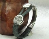 Tree Hugger Slide on Forest Green Italian Leather & Silver Half Circle Closure Unisex Bracelet