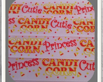 "Candy Corn Cutie * Princess 5 yds 7/8"" on white GG ribbon TWRH"