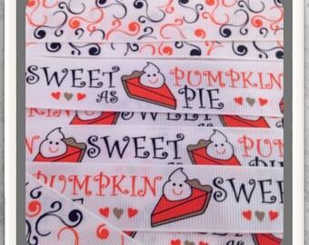 """Sweet as Pumpkin Pie w/ Scrolls SET 6 yds 7/8"""" (4 yds print 2 yds Scrolls) TWRH"""