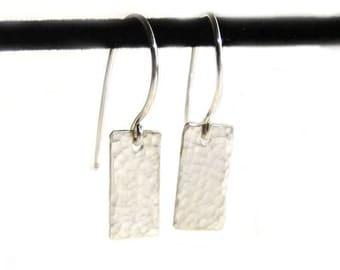 Light Catcher - Hammer Finish Tiny Rectangle Sterling Silver Earrings (SE005)