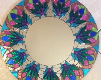 Stained Glass Mandala Mosaic Mirror Glitter pink green blue large