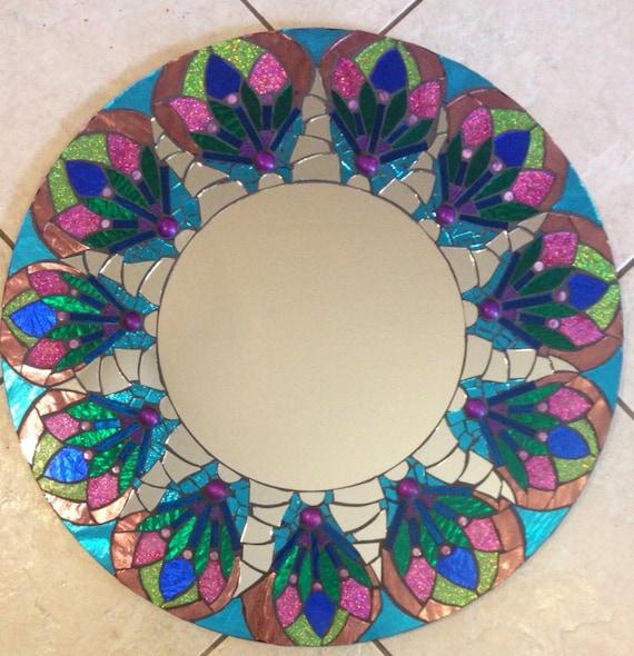 Stained Glass Mandala Mosaic Mirror Glitter pink green blue large