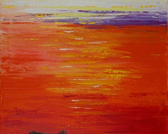 "Contemporary Wall art wall decor Boat Painting red yellow orange purple white Original artwork Seascape ""Home Bound Sunset"" by qiqigallery"