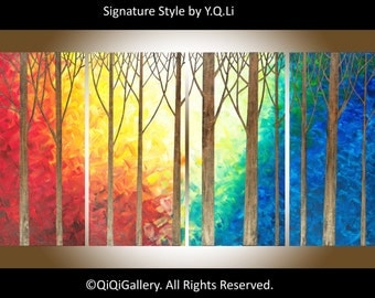 "Large art original oil landscape painting wall art wall decor home decor canvas art ""The Enchanted Forest"" by QIQIGALLERY"