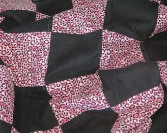Patchwork Quilts - Patchwork Blankets - Pink Leopard Print