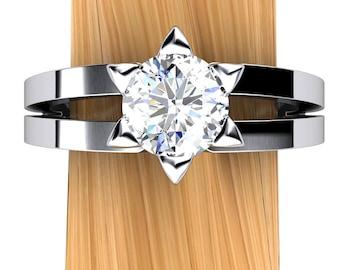 Star of David Engagement Ring, Diamond in Palladium or 14k White Gold - Free Gift Wrapping