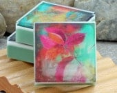 Graphic Art Soap Colorful Botanicals III - Set of 3 Guest Size Square in a Woodland Breeze Scent