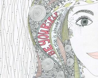 Be Yourself Art Print, Inspirational Wall Art, Affirmation