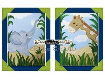 Instant Download Print Jungle Safari animals Elephant Giraffe art print blue green navy nursery wall art decor TWO Piece Set children