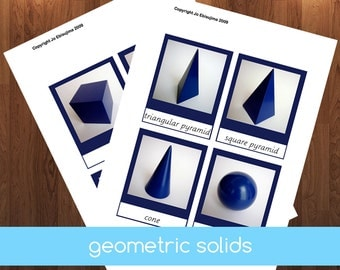 Montessori Geometric Solids 3 Part Cards