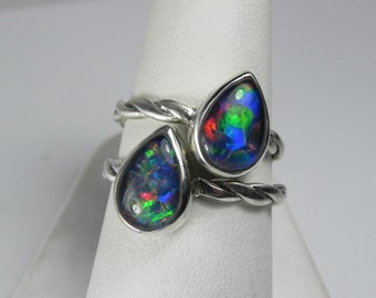 Opal Engagement Ring - Black Opal Ring - Genuine Opal Stack Ring - Opal Ring Twist Band - Australian Opal Silver Ring - Opal Triplet Ring