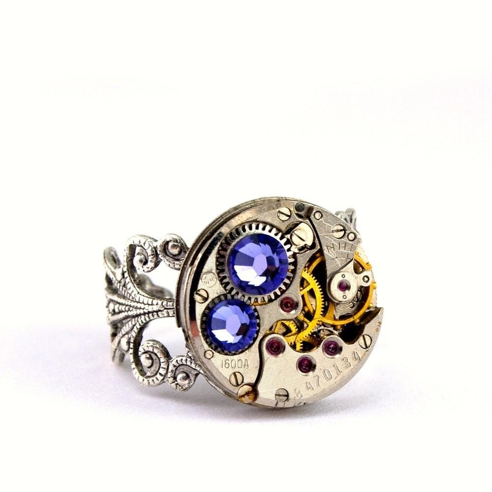 Lavender Tanzanite: Purple Tanzanite Steampunk Ring December By LondonParticulars