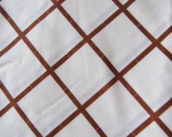 1 Yard Vintage Brown Beige Diagonal Plaid Fabric