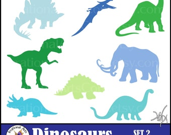 Dinosaur set 2 silhouettes - 8 digital clipart png files - T Rex Woolley Mammoth stegosaurus brontosaurus [INSTANT DOWNLOAD]