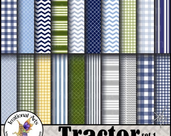 Tractor set 1 with 20 jpg files Digital scrapbooking papers in blue, grey, green + yellow - chevron, stripes & gingham {INSTANT DOWNLOAD}