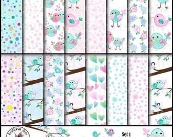 INSTANT DOWNLOAD Sophie BIrdies set 1 with 16 Digital scrapbooking papers with cute birds and flowers pink turquoise aqua hearts