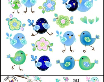 Sophie BIrdies Set 2 Digital Clipart Graphics - 21 blue birds and flowers and green hearts {Instant Download}