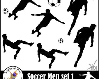 Men Soccer Players - digital clipart graphics of 7 png files {Instant Download}