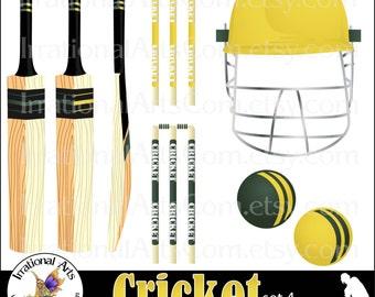Cricket Set 4 Green & Yellow - 12 png digital clipart graphics - bats, helmet, balls {Instant Download}