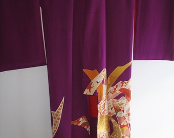 Good Luck Crane Purple Silk Kimono