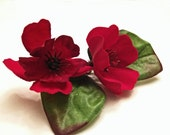 Scarlet Red Flower Hair Pin -- Ruby Crimson Flower Bobby Pin - Wedding Hair Accessory