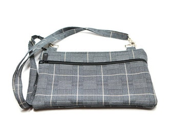 IPad  Mini Case, Kindle Case, Cross Body Bag, Adjustable Strap, Fits eReaders, Black and Tan Plaid Suiting