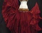 Maroon Cotton 25yd Skirt ATS SCA BellyDance Best Quality