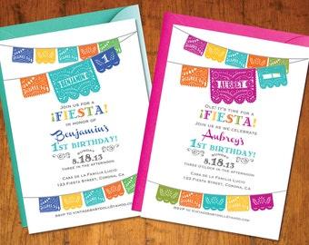 Printable Invitation - Fiesta Birthday papel picado - mexican cinco de mayo -  I design, You Print