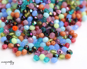 50pc mixed assortment of 4mm firepolish czech glass faceted beads