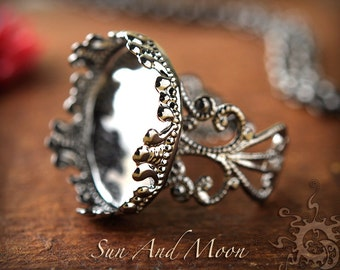 1 Gunmetal Princess Filigree Ring Base NO GLASS Insert-Adjustable Rings-20mm Setting Ring Blanks Bezel-DIY-Crystal Clear Glass