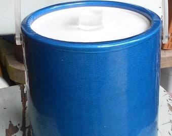 BLUE  ICE BUCKET, vintage vinyl plastic, Azure ocean, clear handle, Bucket Brigade, Boston usa made