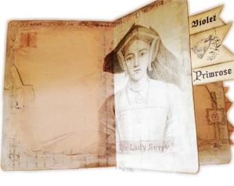 Renaissance Journal  Diary, Medieval Art Journal, England Travel Journal, Faux Medieval Travel Journal, Elizabeth I Tudor Style Journal,