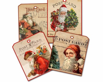 Christmas Tag, Postcard Santa Claus Tags, Christmas Santa Tags, Santa Claus, St Nick Tag, Party Favor, Double Thickness, Old Vintage Santa