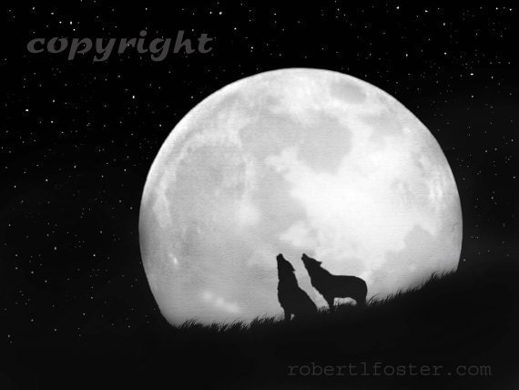 Wolf art, wolf print, wolf painting, wolves, howlers, wolf pack, howling pack, night sky, large moonscape, two wolves, silhouettes,