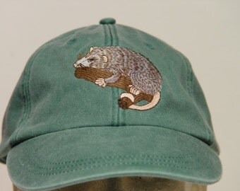 OPOSSUM HAT - One Embroidered Wildlife Cap - Price Embroidery Apparel - 24 Color Caps Available
