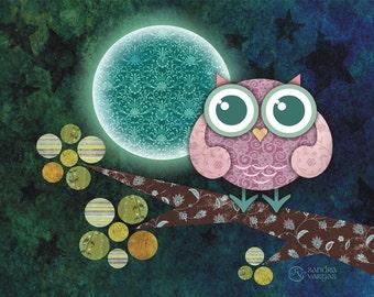 Midnight Owl 8 x 10 Print Wall Art Nursery Decor Digital Illustration