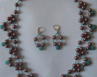Chocolate and Turquoise Beaded Necklace and Earring Set