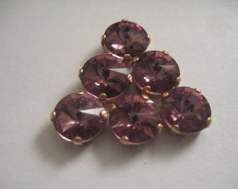 Lot of 6 8mm Light Amethyst Preciosa Czech Rivoli Cut Rhinestones in Red Brass Sew On settings