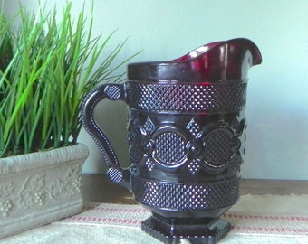 Vintage pitcher serving  dark red pitcher cranberry pressed glass Ruby Red 1876 Cape Cod pattern
