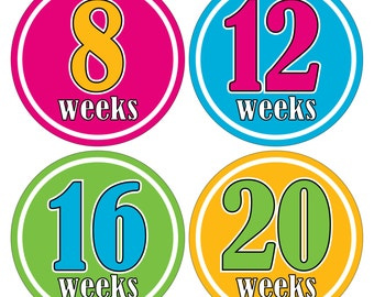 12 Weekly Pregnancy Mama-to-be Maternity Waterproof Glossy Stickers  - Monthly stickers available - Design W009-05