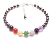 Sterling silver chakra bracelet gemstones and magnetic hematite - amethyst, garnet, lapiz lazuli