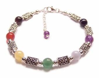 Sterling silver chakra bracelet gemstone celtic knot work - amethyst, garnet, lapis lazuli rainbow