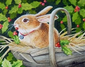Bunny Rabbit & Holly Miniature Art - Limited Edition ACEO Giclee Print reproduced from the Original Watercolor