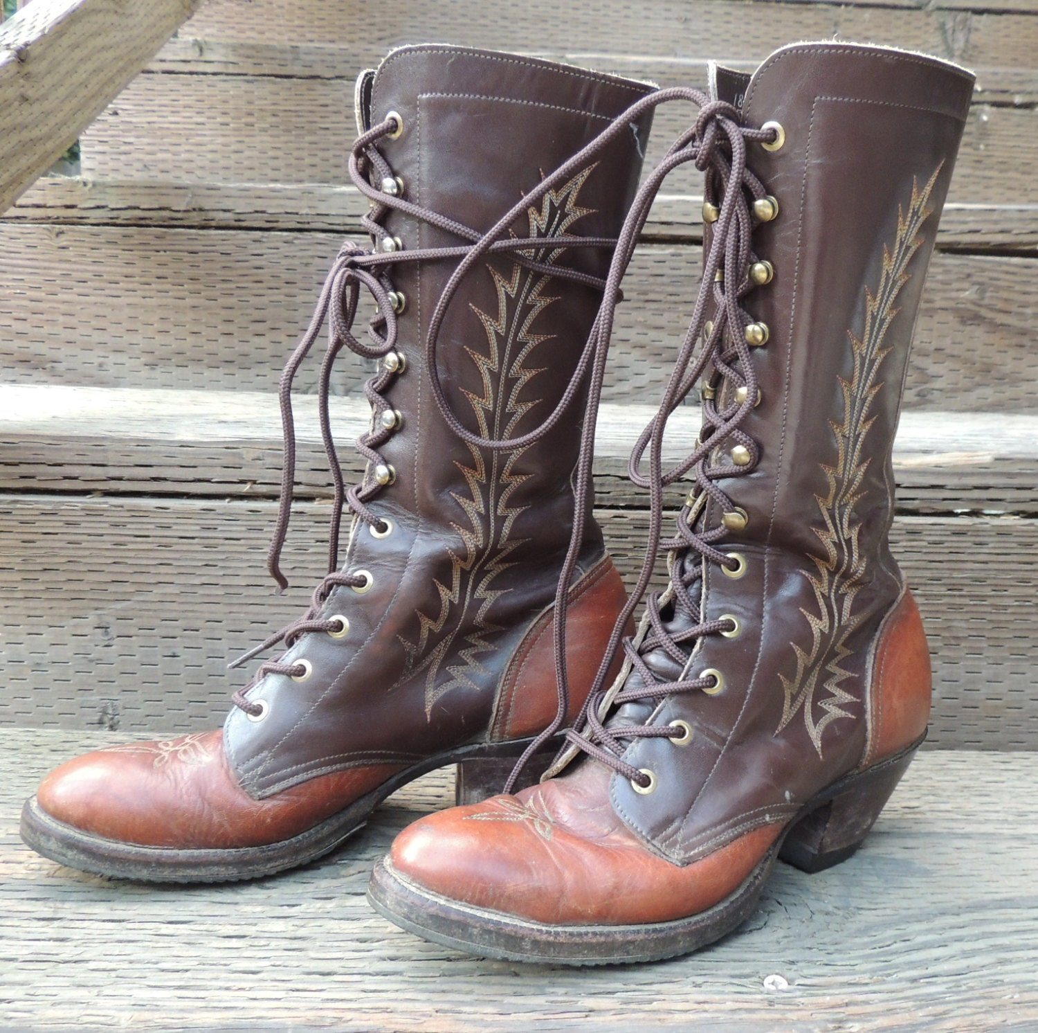 Vtg Tony Lama Embroidered Lace Up Boots Fancy Roper