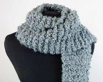 Thick Scarf Hand Knit from Curly Bouclé Vegan Yarn in Pretty Khaki Blue - Item 1371