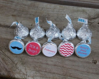 88 Hershey Kiss Stickers - Mustache Party or Mustache Shower