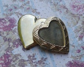 Vintage 42x40mm Giant Gold Plated Heart Pendant Locket with Recessed Area for Approx: 28x29mm Heart Cab (1 piece)