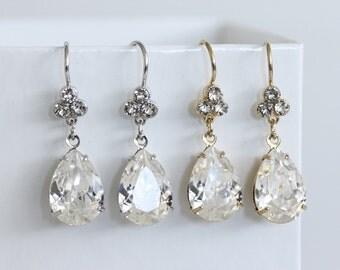 Bridal Earrings Swarovski Crystal Teardrop Earrings Simple Wedding Earrings Gold or Silver Bridesmaid Earrings Wedding Jewelry JANE