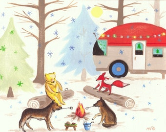 Create your own Camping scene with your Pet, custom for you, great gift, animals, woodland animals, forest